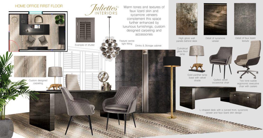 Home office, floor plan and mood board