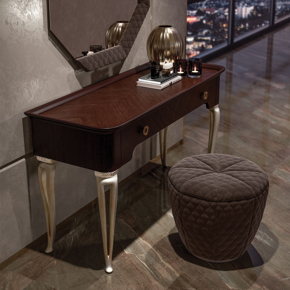 Designer Italian Dressing Table With Crystal Details