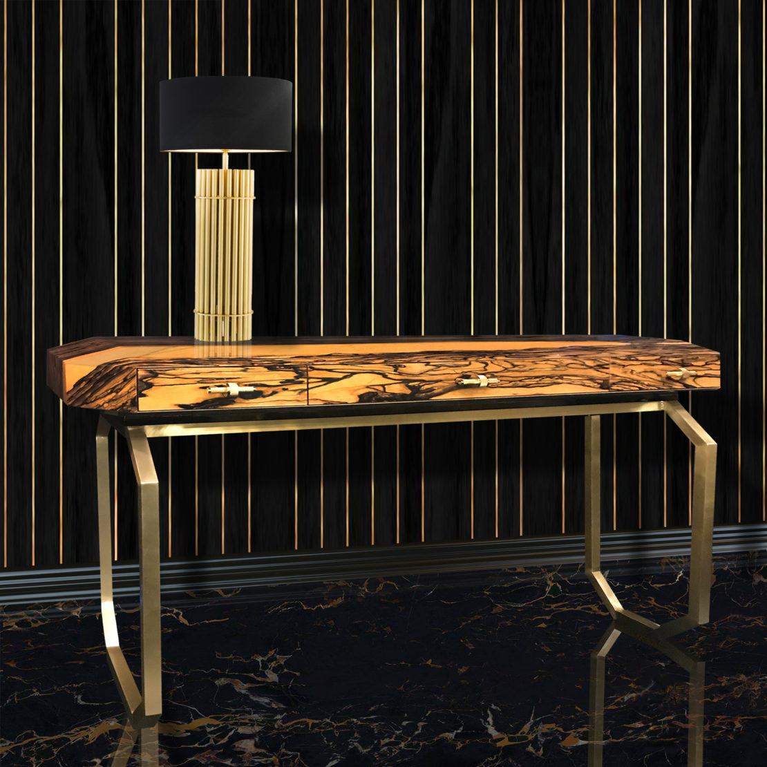High End Ebony Veneer Designer Console Table