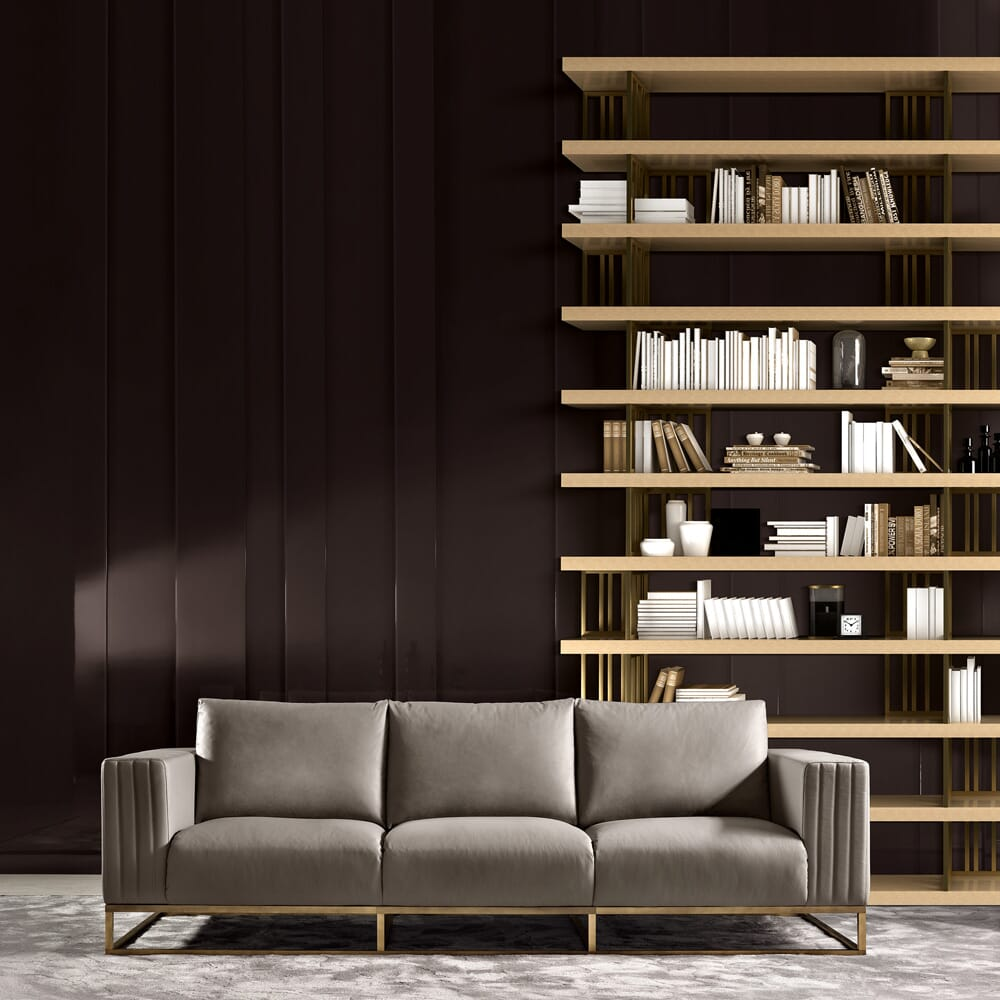 book nook, taupe leather luxury sofa with grand bookcase