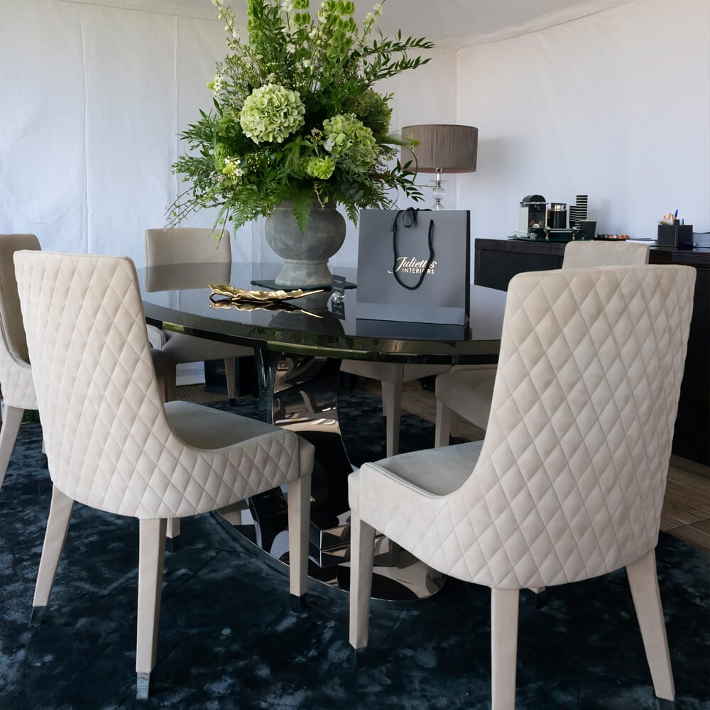 Ex Display Sale, high gloss walnut veneer oval dining table with 6 upholstered chairs in taupe quilted nubuck