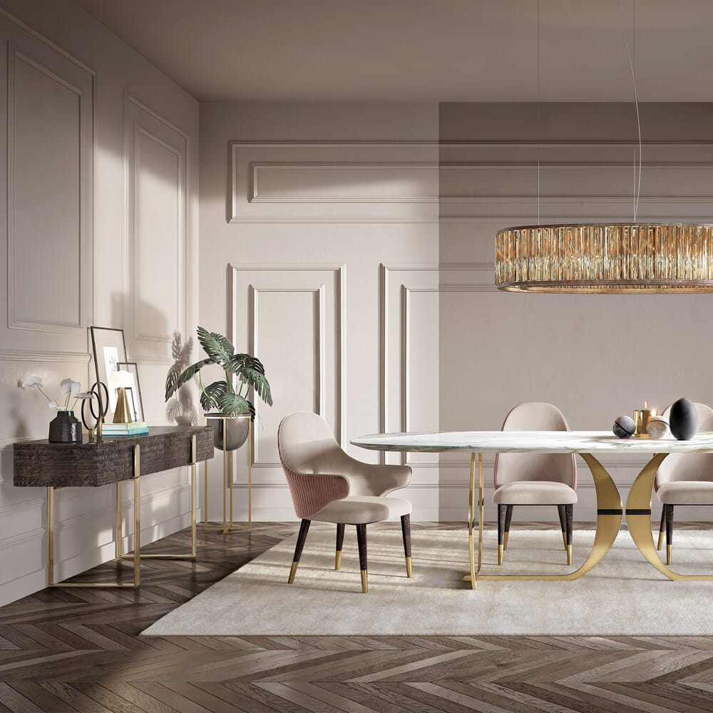 glamorous dining room with console table as a small desk