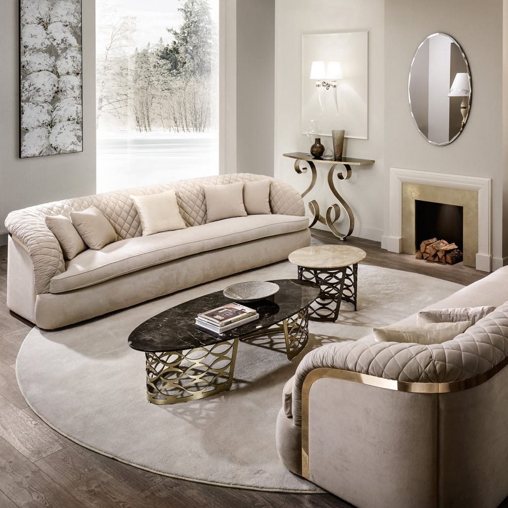 ex display furniture, modern italian designer quilted nubuck leather sofa in luxury living room