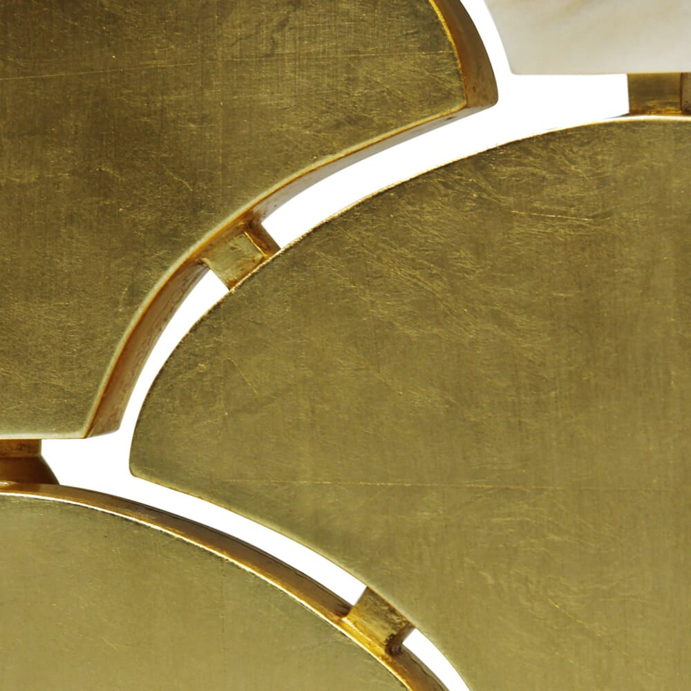 luxury dressing screen, scallop detail in gold leaf