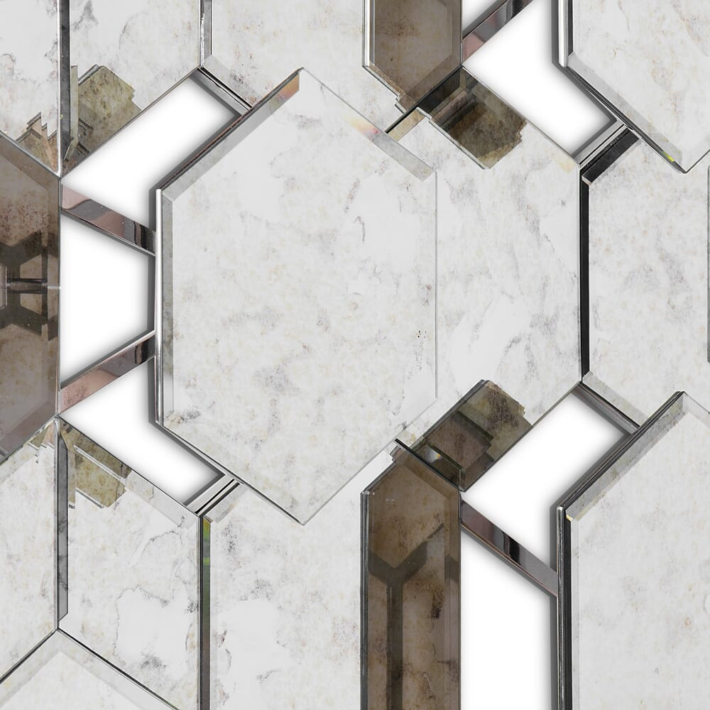 geometric mirror with aged finish and 3D detail