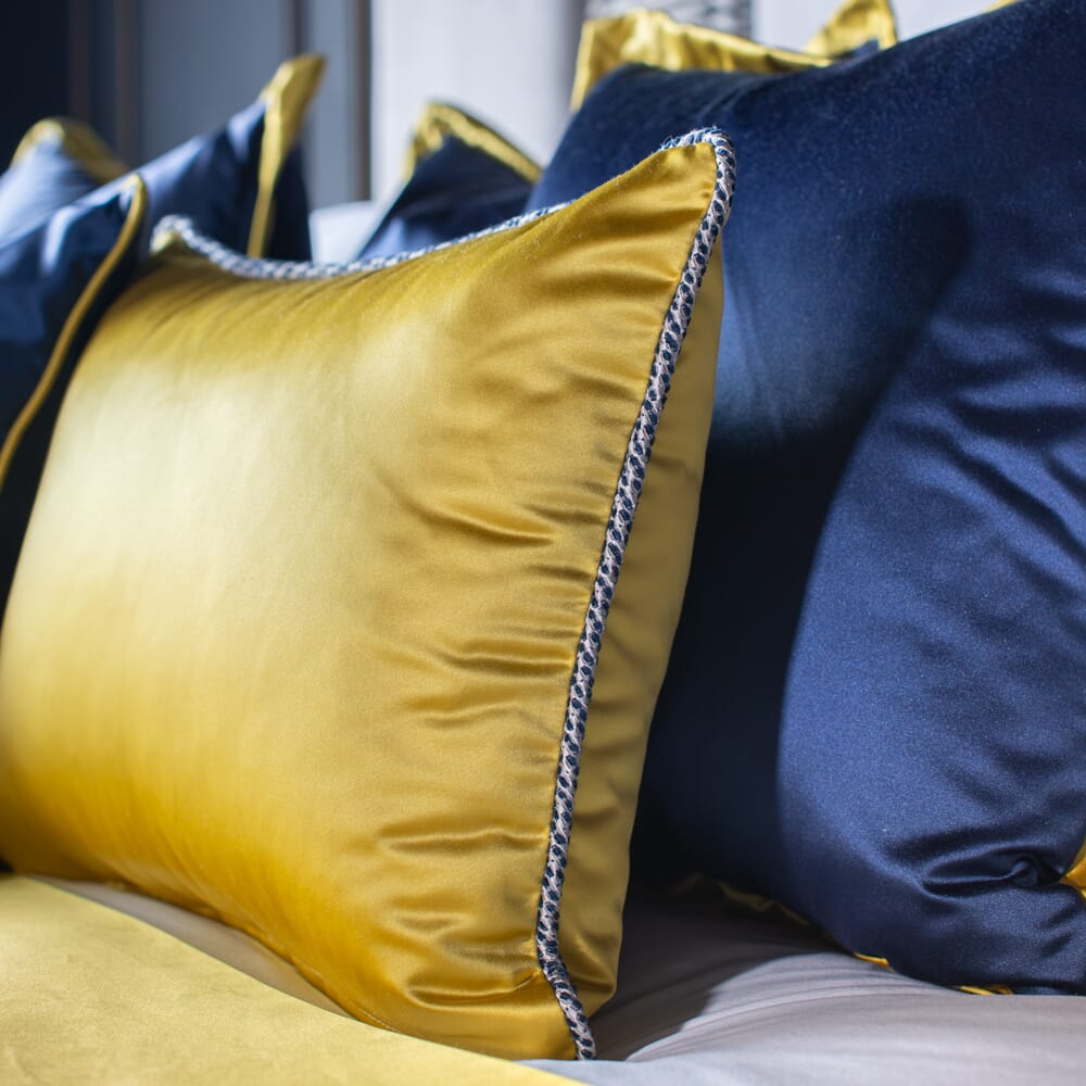 luxury furniture, satin cushions in navy blue and mustard