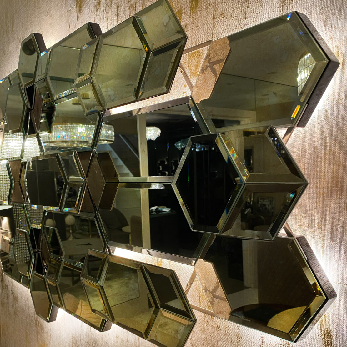 new Luxe Collection, High End Large Designer Geometric Multi Layered Wall Mirror with LED