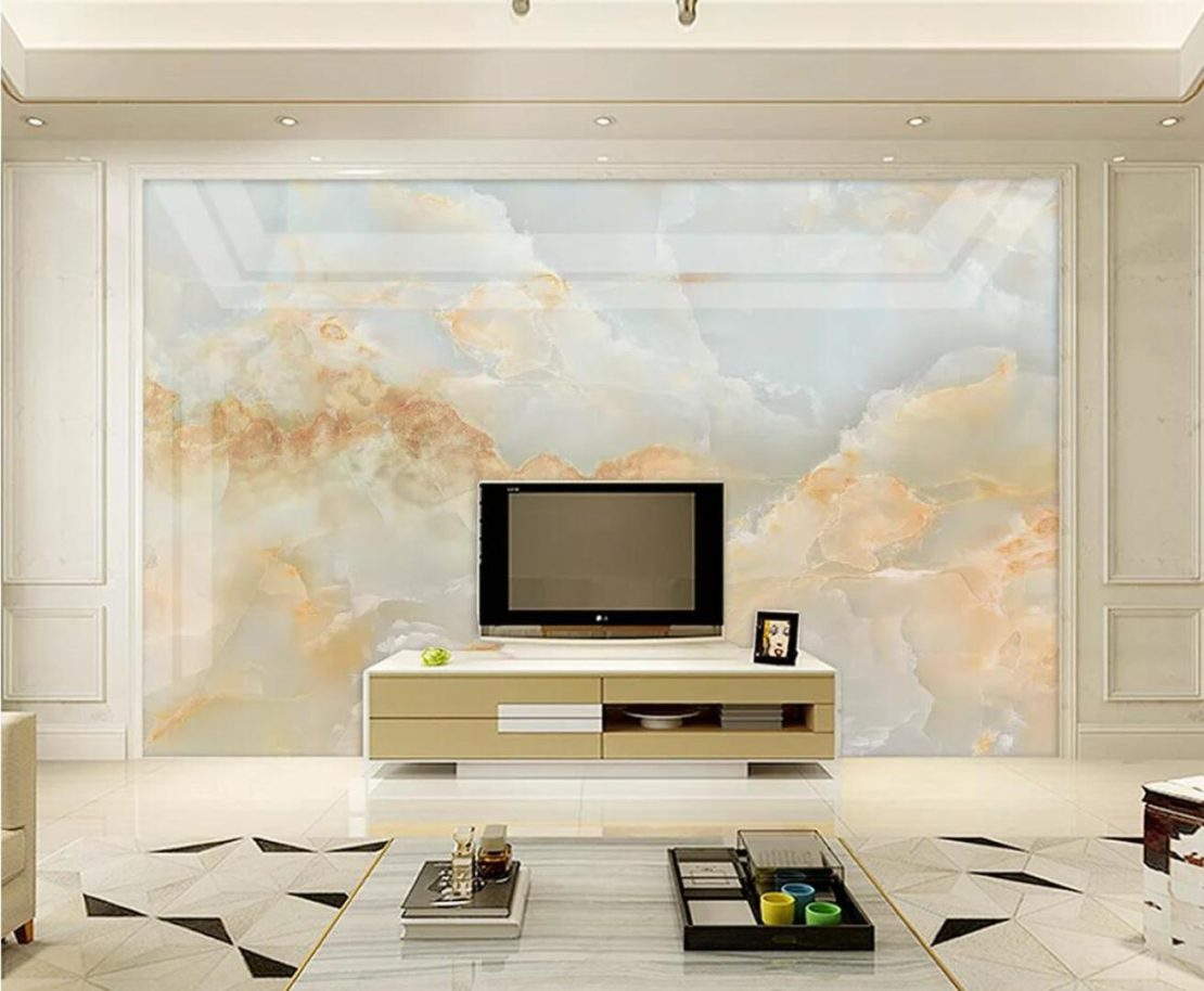 marble wall panel in contemporary living room