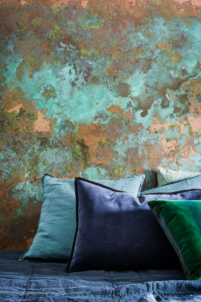 hand painted feature wall, green oxide and metallic copper abstract