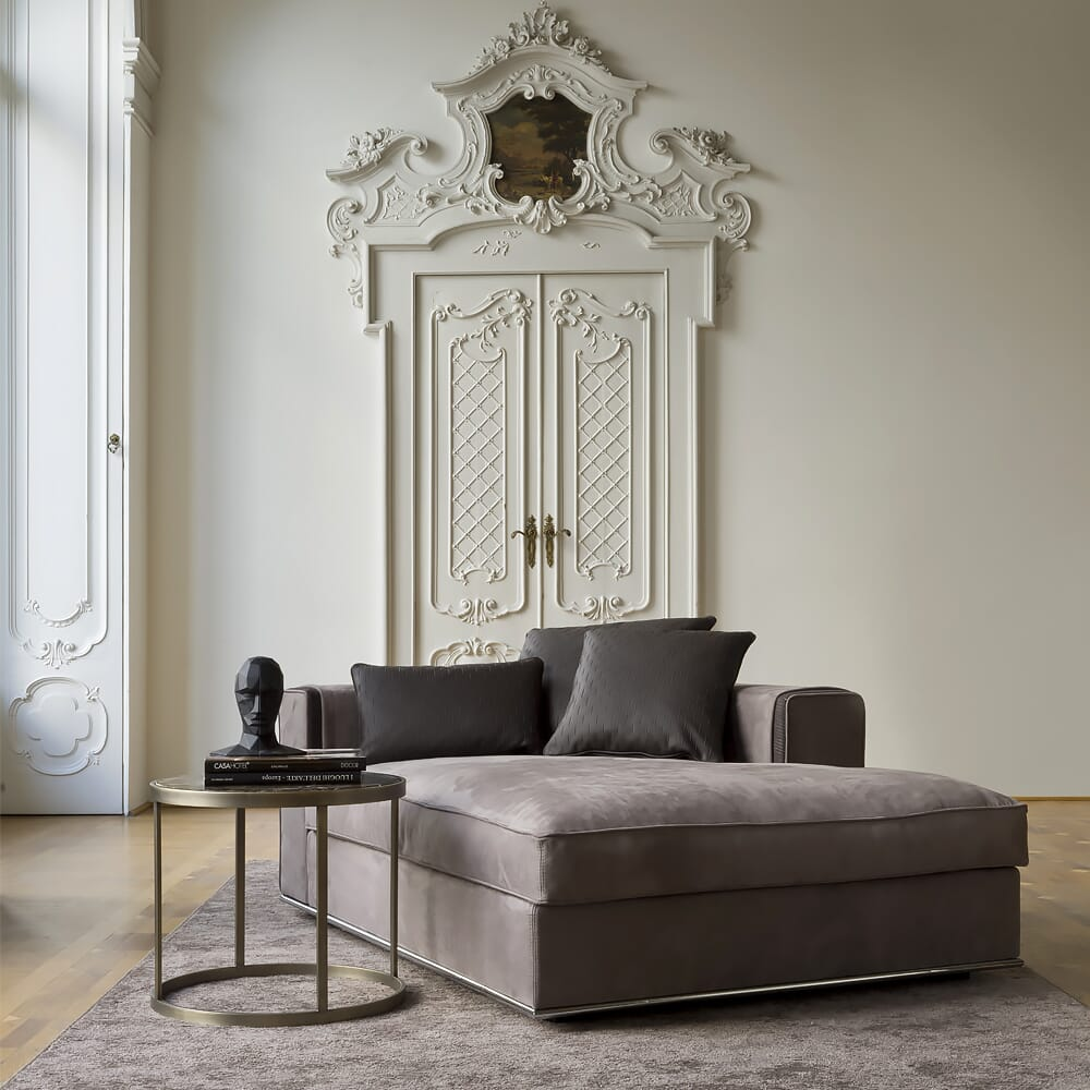 interior design trends, greige, transition style, warm grey oversized chaise longue