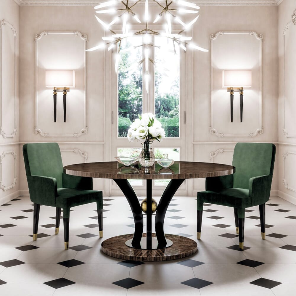 colour trends 2021, forest green velvet dining chairs
