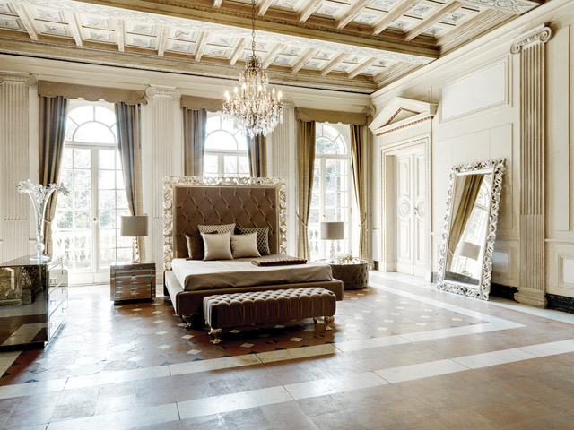 eclectic glamour, classic bedroom with rococo style bed and modern, mirrored bedside table and chest of drawers