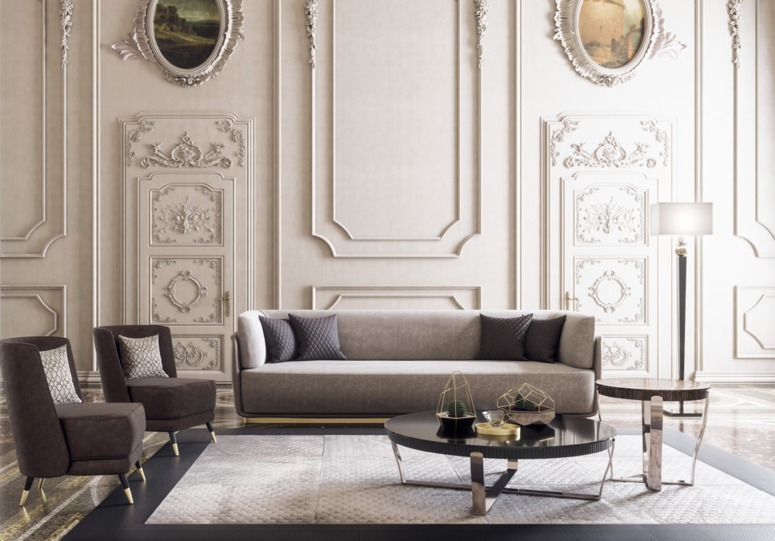 transition style, classic ornate room with contemporary sofa, velvet chairs and gloss veneer coffee tables