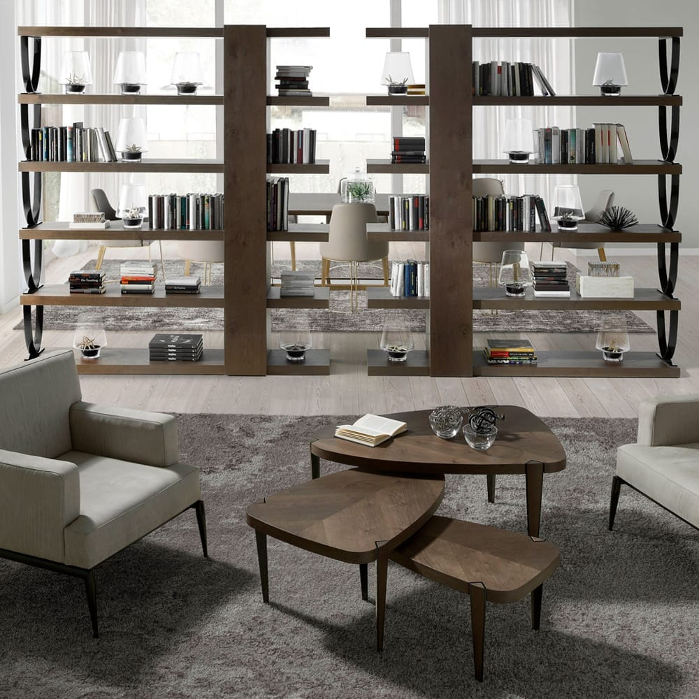 interior design trends, flexible rooms, large room divided by large bookshelves