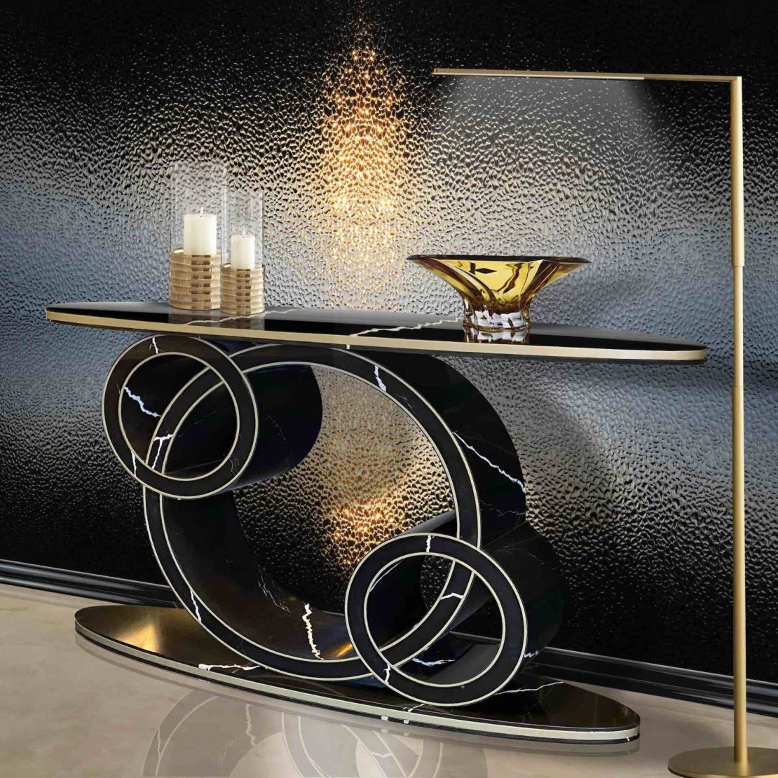 luxury marble furniture, black veined marble console table, art deco style, interlinked circles form the base, oval top