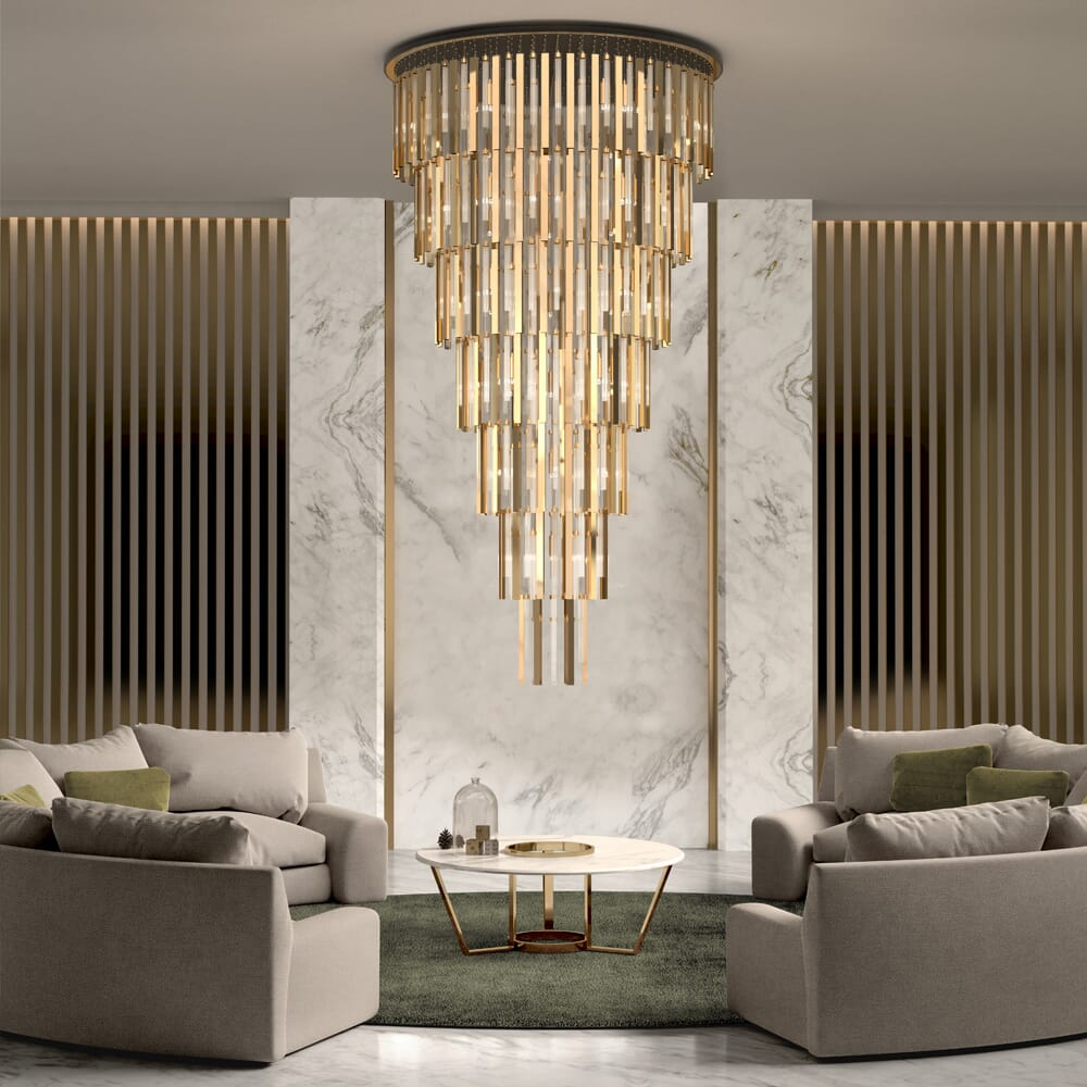 interior design trends, statement pieces, extra large gold and glass tiered chandelier