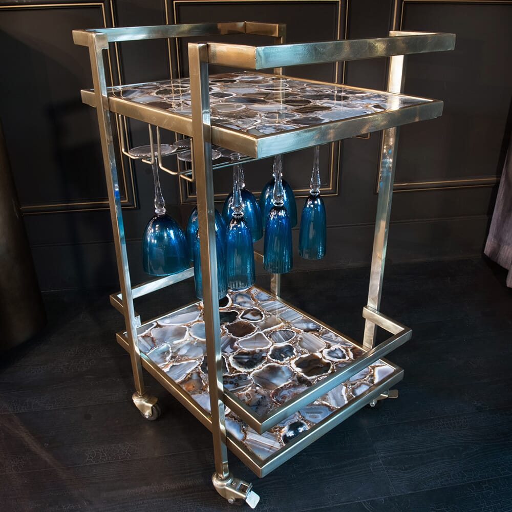 interior design trends, drinks trolley with agate shelves and pewter finish