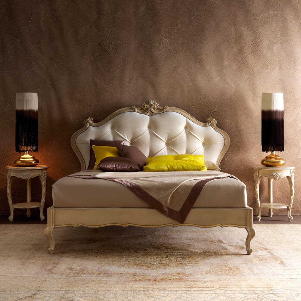 interior design trends, transition style, classic bed and tables with modern lamps and textured wall covering