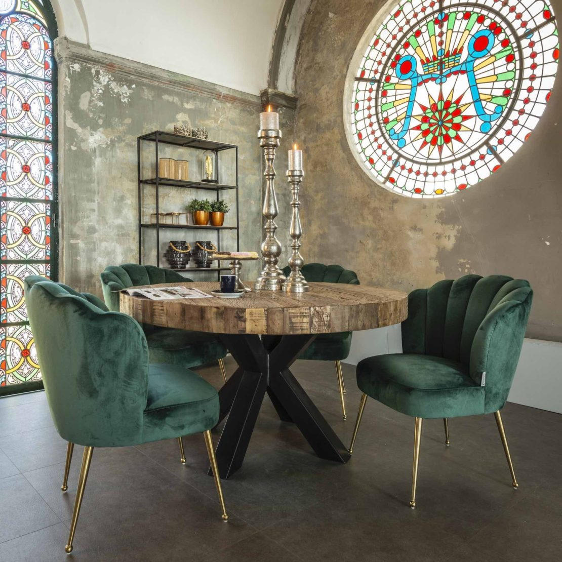 transition style trend, mixture of old and new, chapel with stained glass with modern, recycled wood table and scalloped velvet chairs