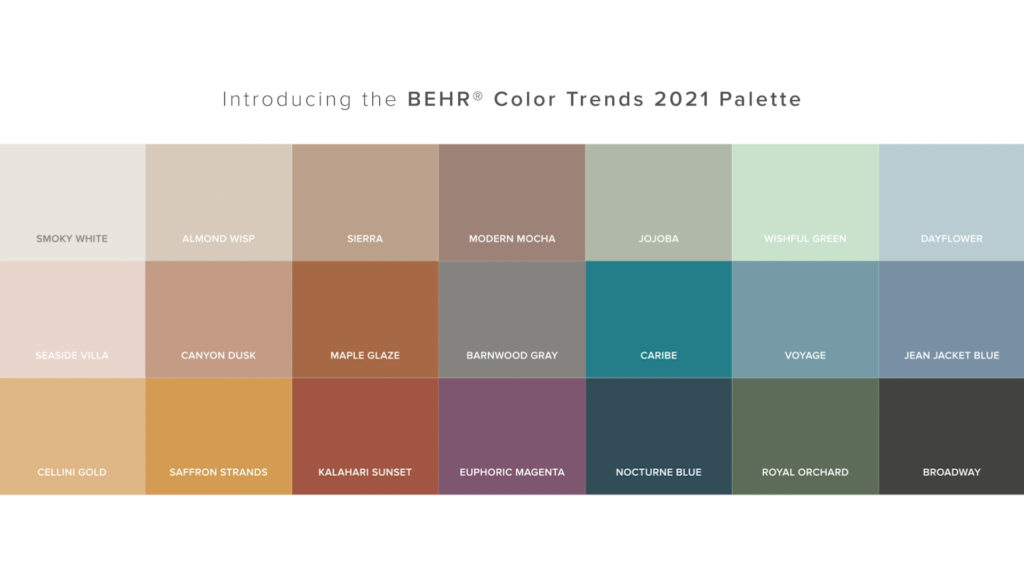 Colour trends 2021, Behr