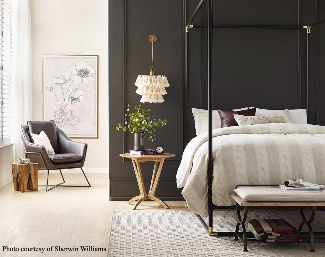 Sherwin Williams colour of the year 2021, urban bronze, bedroom setting
