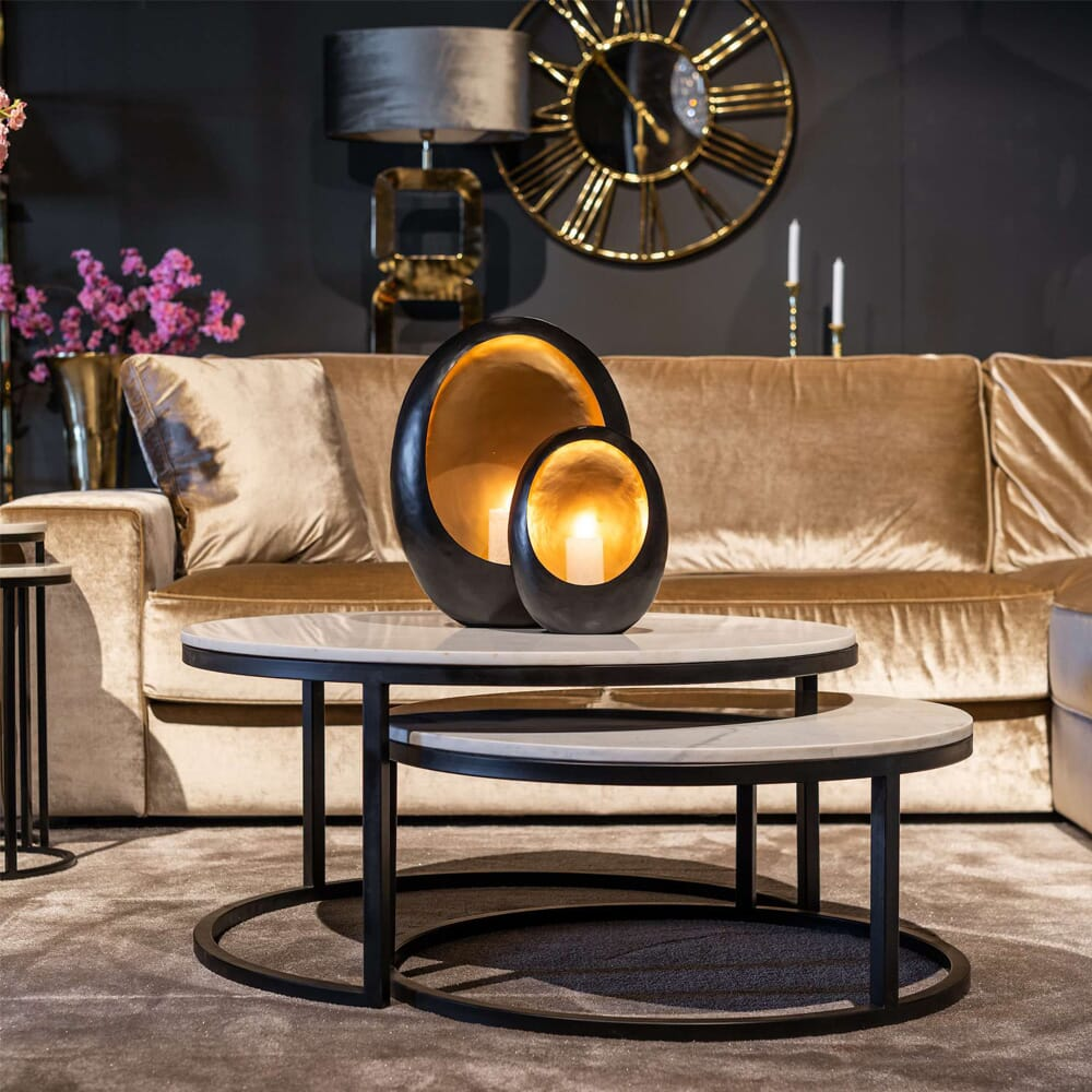 showhome furniture, carrara marble coffee table nest, 2 tables, white marble top on matt black contemporary metal base