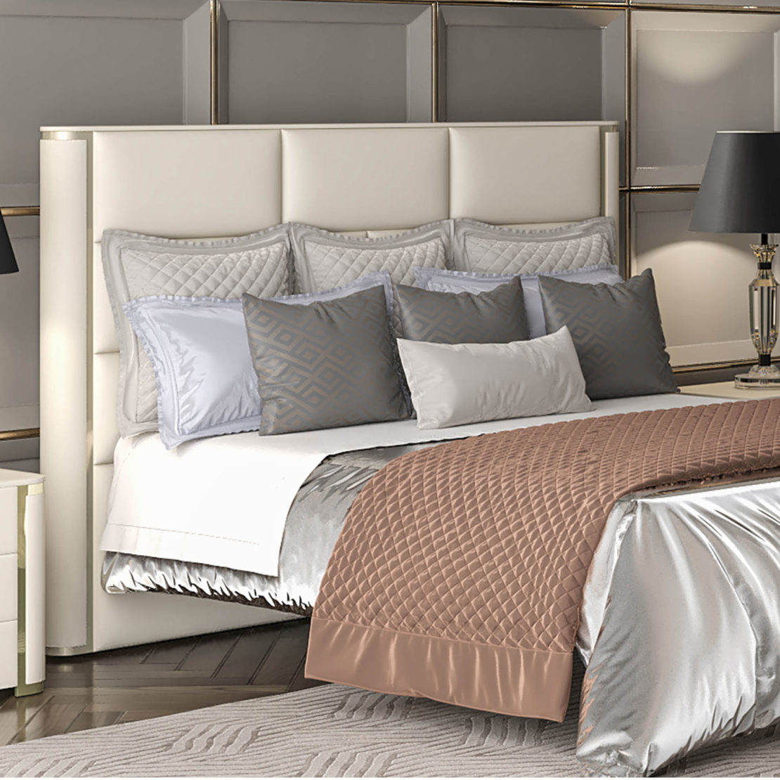 Modern Leather Upholstered Bed With Chrome Detail