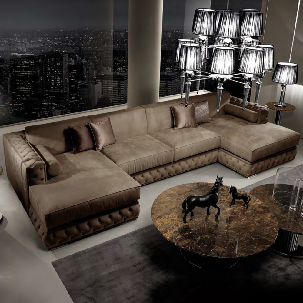 leather furniture, Large Italian Nubuck Leather Modular Sofa