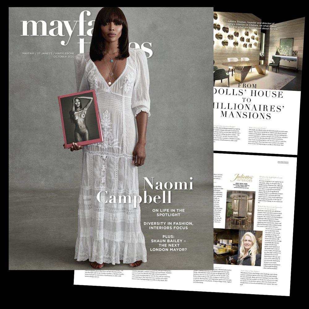 In the press, Mayfair Times interview with Juliette Thomas, Juliettes Interiors