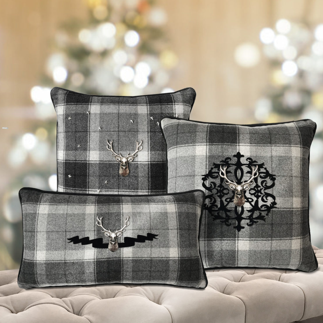 set of 3 grey tartan and stag cushions