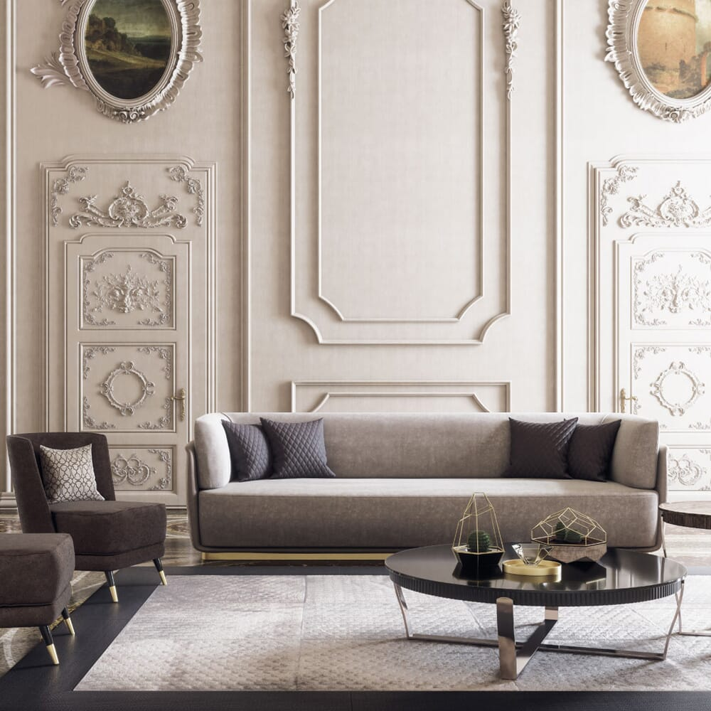 A palatial interior with ornate, panelled walls, luxury furniture, and a neutral colour scheme