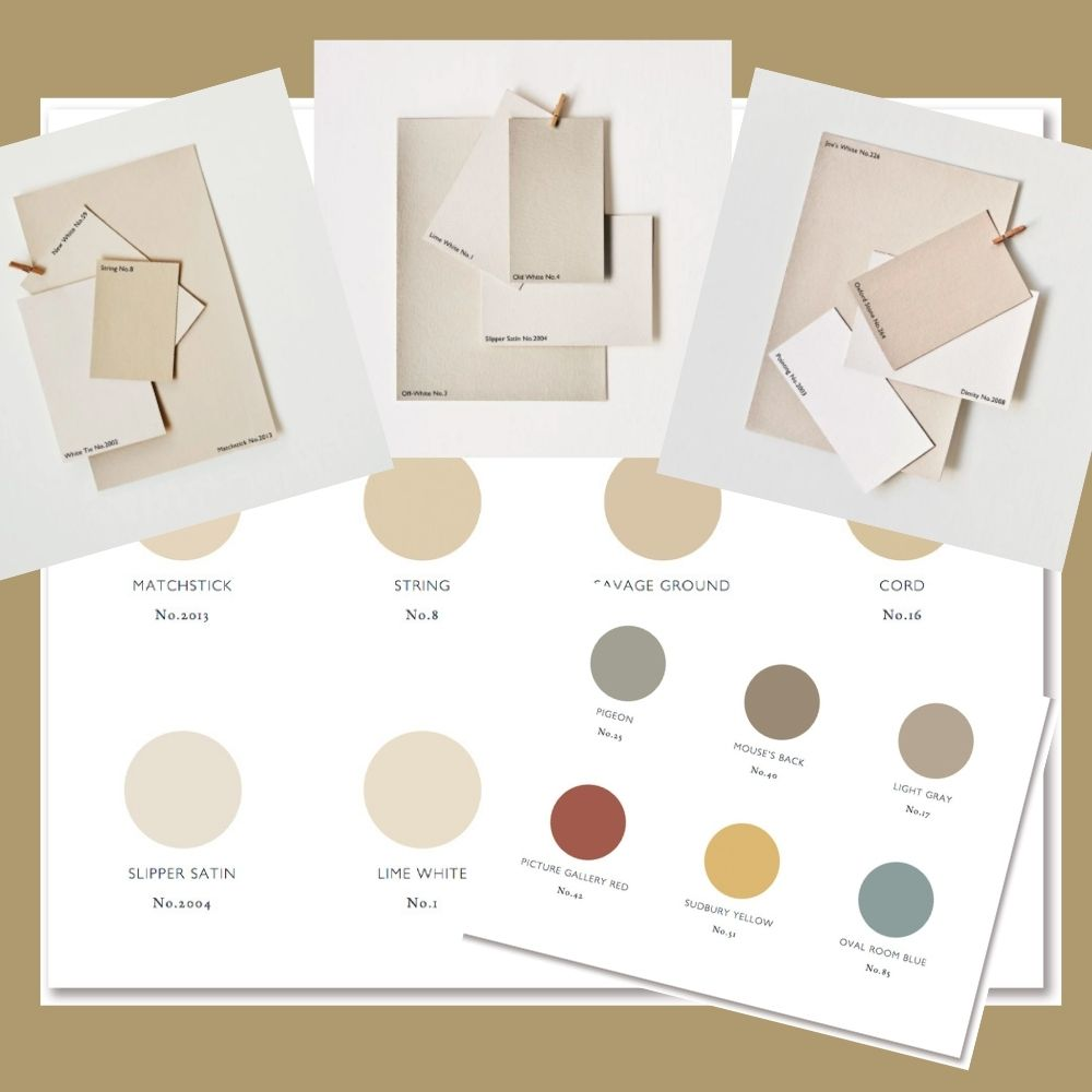Farrow and Ball warm neutrals groups, paint charts