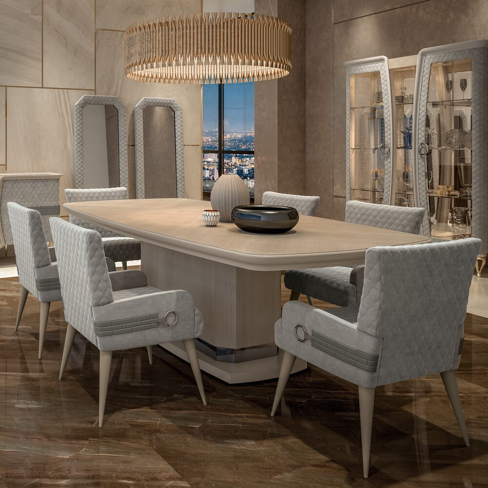 warm neutral colour scheme in a luxury dining room