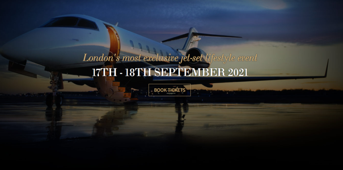 Luxury Event, Elite London Lifestyle Show 2021, image of private jet