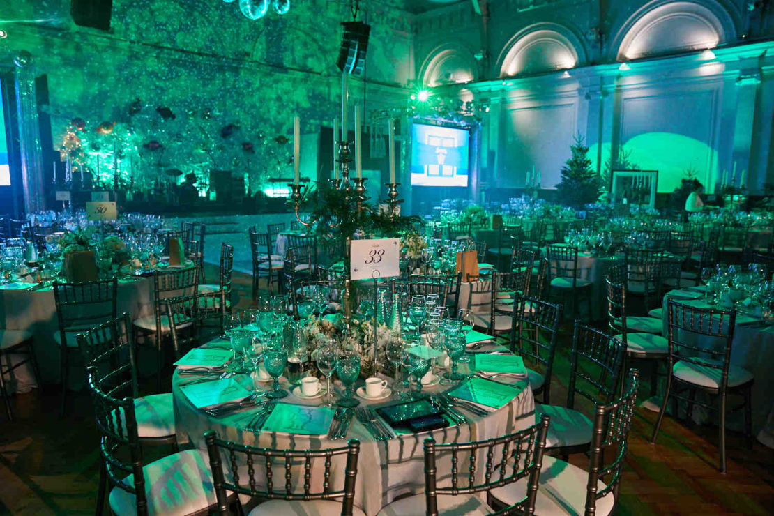 Cancer Research UK, Emeralds and Ivy Ball 2021, spectacular decorated function room