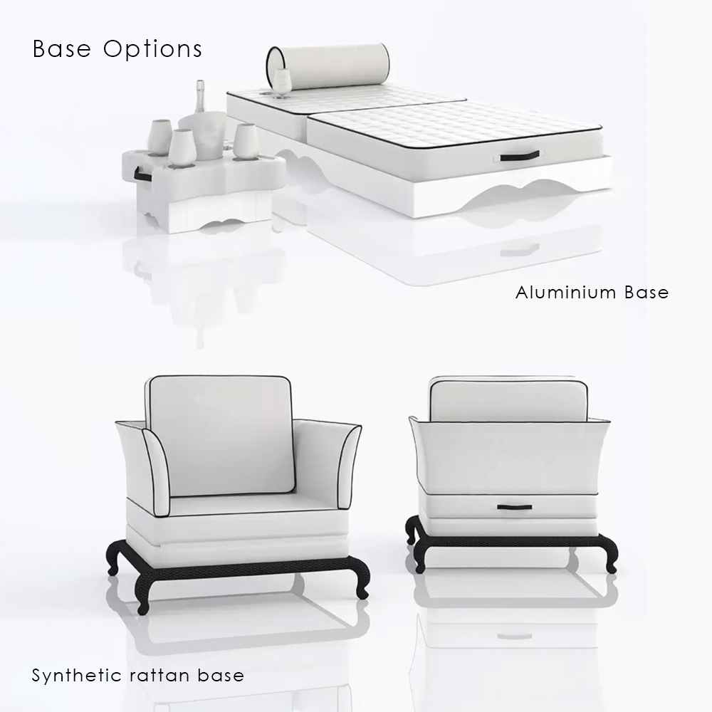 outdoor seating, Floating Armchair Sun Lounger base options
