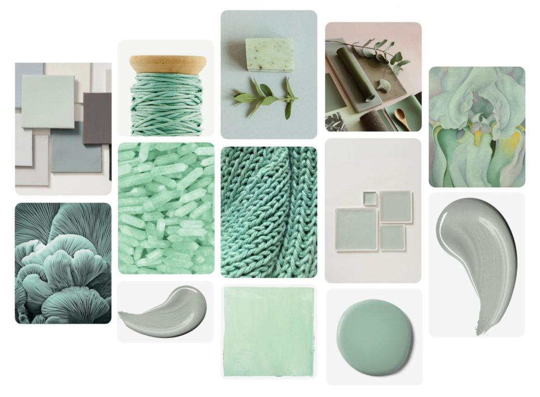 online interior design course, mood board, neo mint and complementary colours