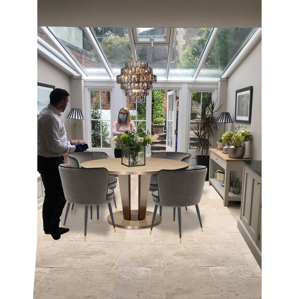 photo of conservatory with digital positioning of dining furniture