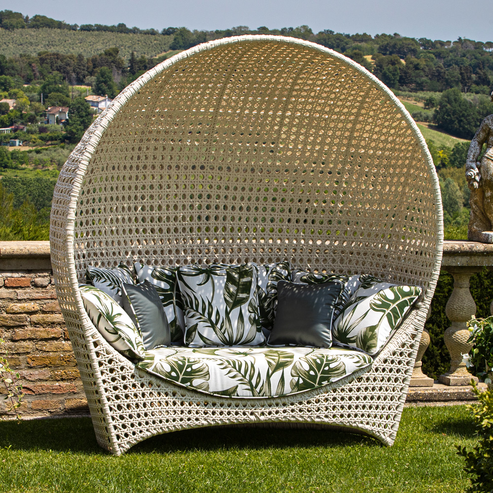 Rattan Style Covered Bench Sofa