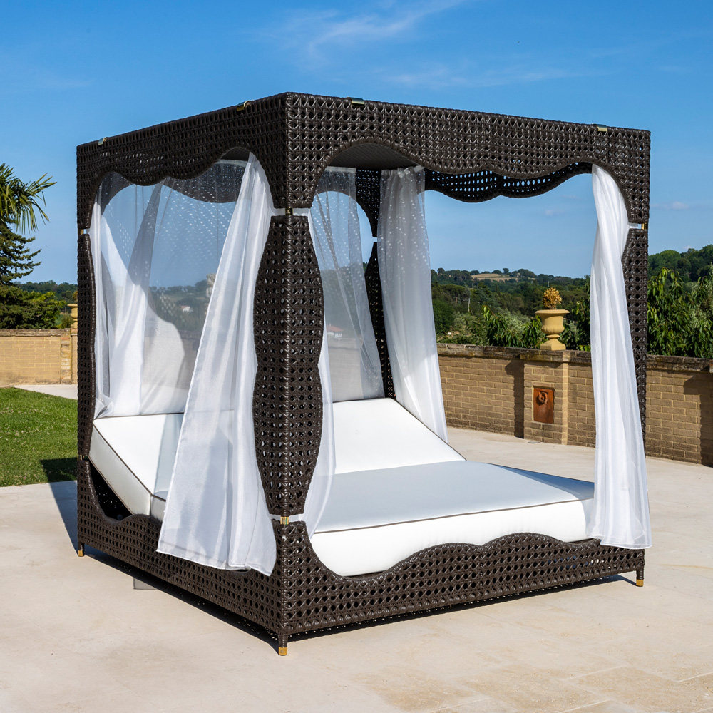 Rattan Style Four Poster Double Sun Lounger