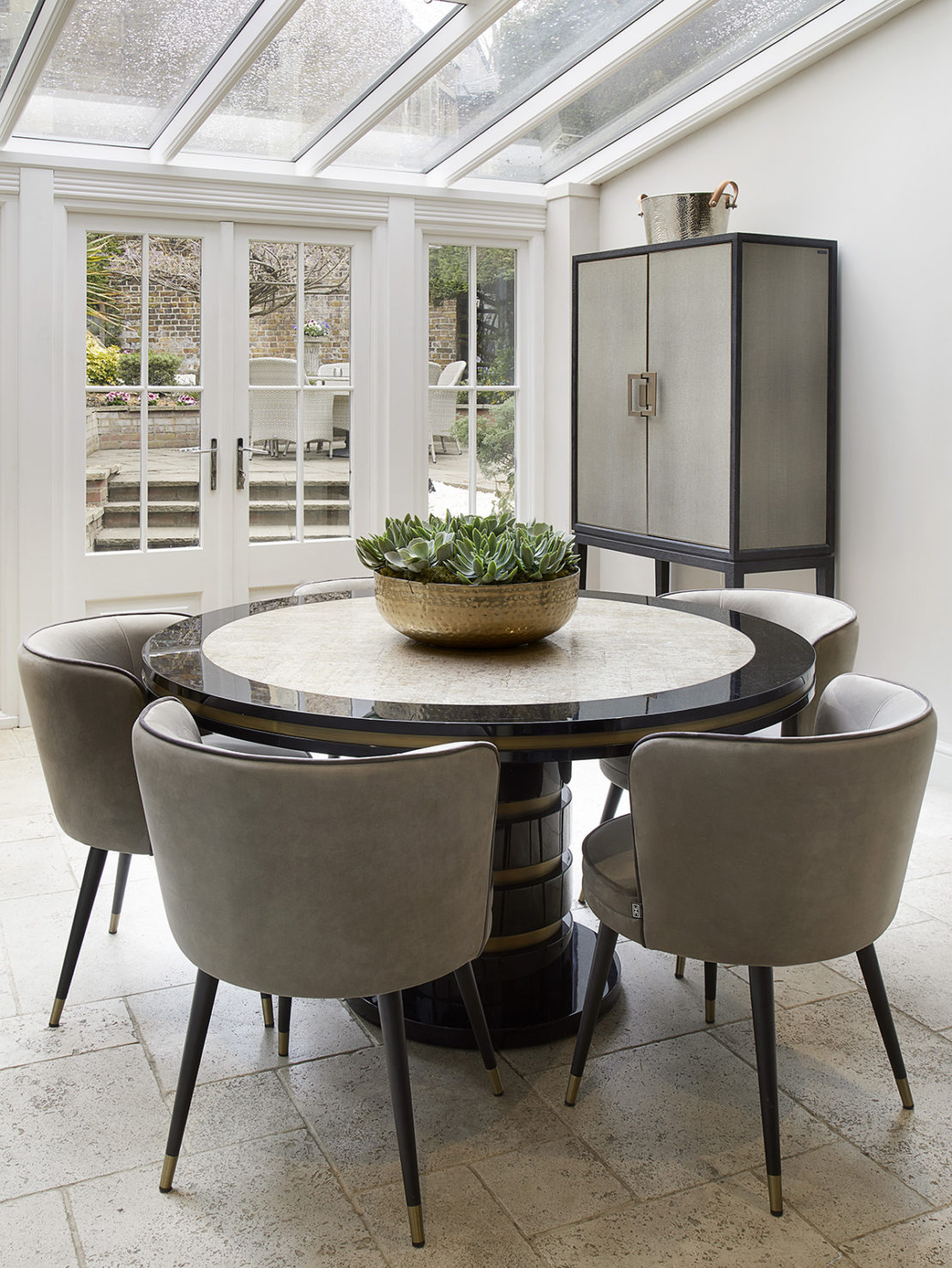 Interior design project, Windsor, new luxury dining set in conservatory