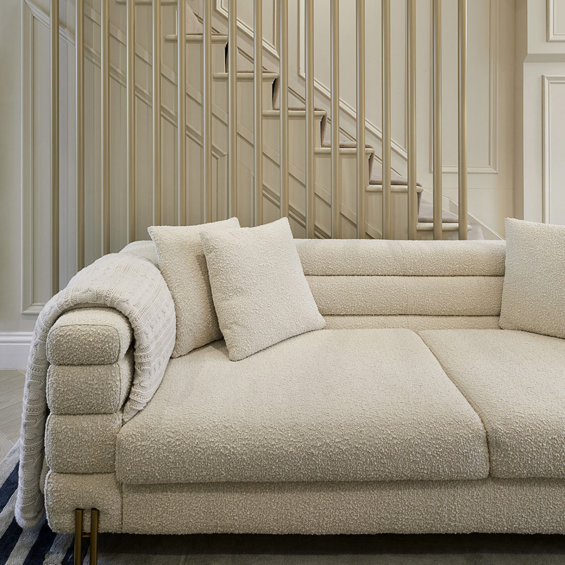 Windsor town house, contemporary staircase, low textured sofa