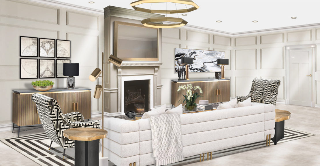Interior design project, living room furniture layout