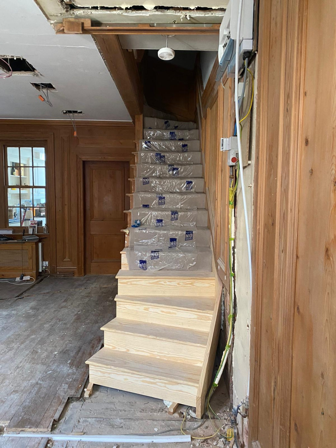 Interior design project, in progress, repositioning the staircase