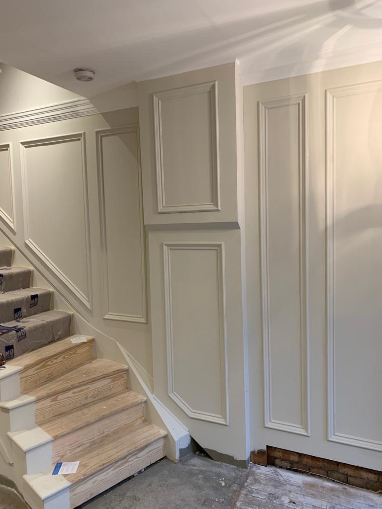 Interior design project, Windsor, repainted panelling